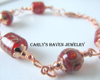 Red and copper lampwork beaded bracelet, handmade, ready to ship, gifts for women, gifts for mom