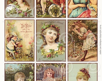 Printable Vintage Victorian Glamor Girls ATC Tags JPG file to download instantly by Jodie Lee