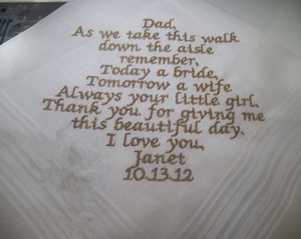 Personalized  Mens Handkerchief Wedding Keepsake dad Custom Made
