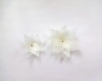 2 Ivory Organza Flowers Embellishment