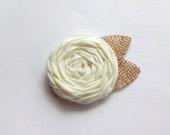 Ivory  Fabric Rosette Embellishment
