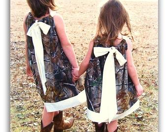 Handmade from Realtree Camo flower girl dress Baby Toddler. Girl  Pillowcase dress. Redneck Flower girl . mossy oak  camo birthday