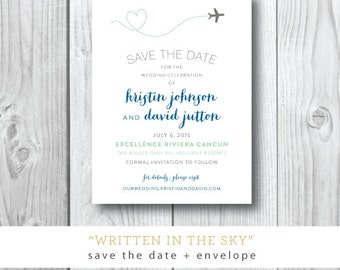 Written in the Sky Printed Invitations | Destination Save the Date Invitation | Printed or Printable by Darby Cards