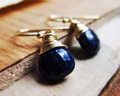 Blue Stone Earrings - Lapis Lazuli Earrings, 14K Gold Fill Earrings