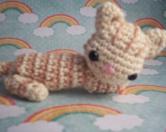 Tabby cat doll -  Amigurumi orange kitty cat - stuffed animal handmade toy