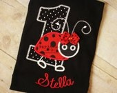 Black Ladybug shirt onesie-Ladybug birthday shirt-Ladybug Birthday-first birthday ladybug-ladybug birthday shirt
