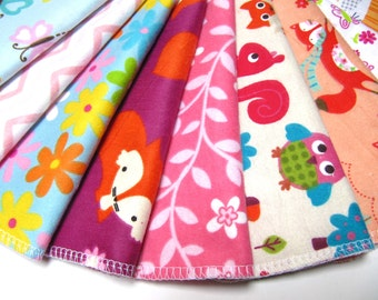 Cloth Wipes, Reusable Cloth Wipes, 10 Girls Mixed Prints Set,  Eco-Friendly Wipes, Flannel Cloth Family Wipes