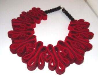 Red Necklace Red Statement Necklace Felt Jewelry Ecofriendly Recycled Felt Bib Necklace