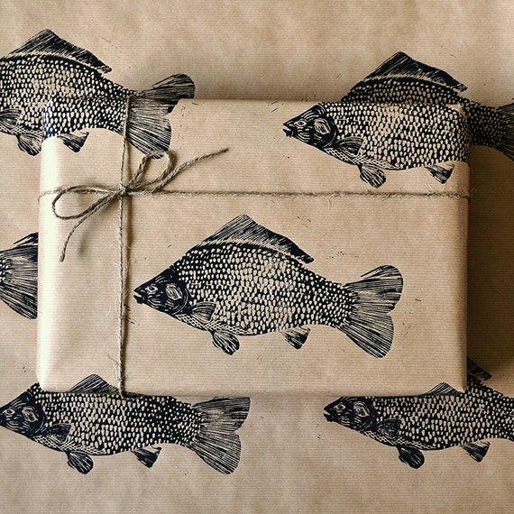 Items similar to lino printed fish wrapping paper for Fish wrapping paper