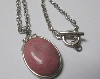 Handmade Pink stone pendant necklace with silver tone chain and toggle clasp closure