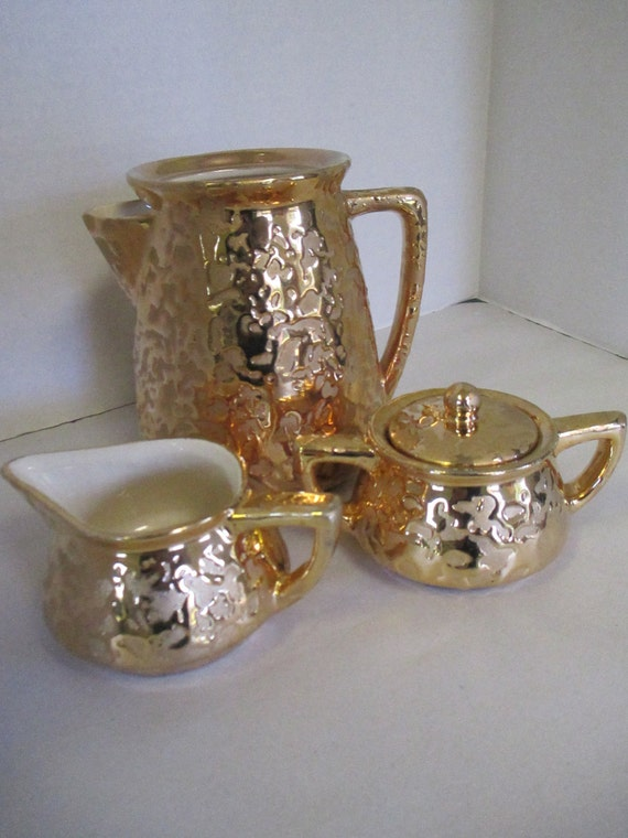 Vintage Mccoy Pottery 3 Pieces Pitcher Without Lid Creamer