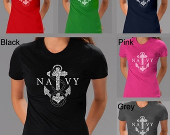 Women's T-shirt - Created using the lyrics to Lyrics To Anchors Aweigh