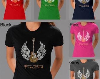 Women's T-shirts - Created using rock's great anthem Lyrics To Freebird