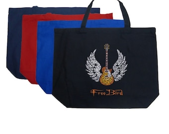 Large Tote Bag - Created using rock's great anthem Freebird