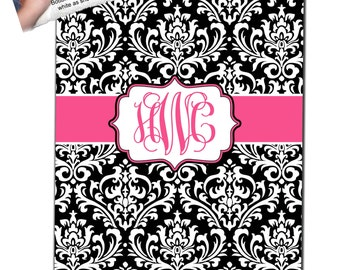 Personalized Damask Fleece Blanket - Any Color