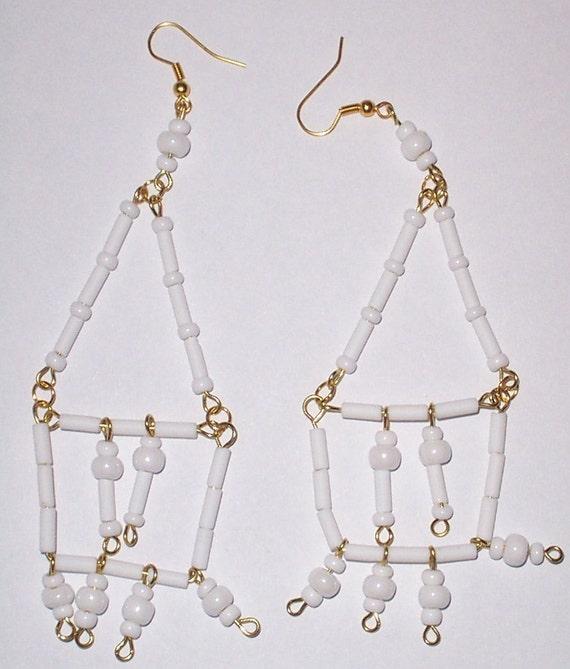 White glass dangle earrings