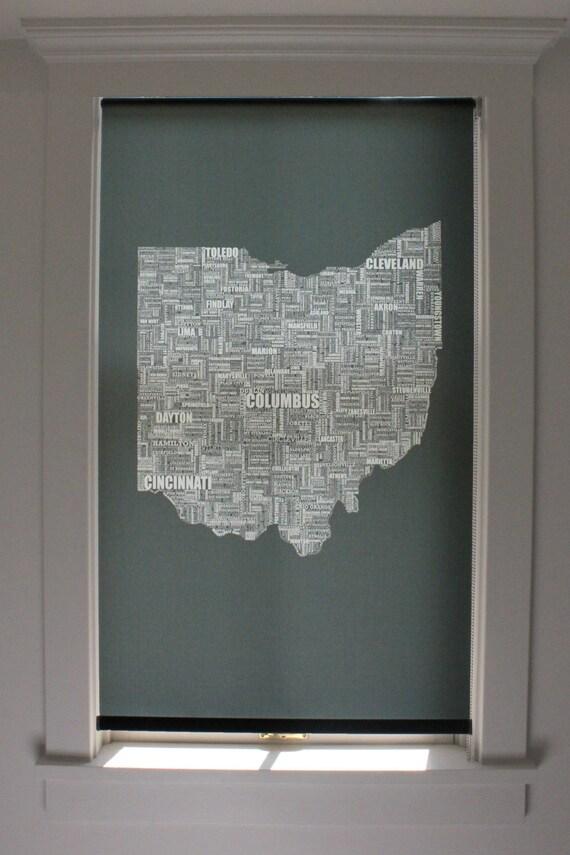"Ohio Typography Graphic Window Shade 18''- 24"" width"
