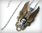 Gothic Necklace Wings Skull Bones Pendant  - Men Women Gothic Jewelry  Angel Wings Necklace
