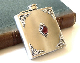 Vintage Style Liquor Flask - Amethyst and Silver on Stainless Steel Hip flask  6 oz - Victorian  Accessories