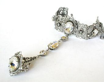 Gothic Ring Bracelet - Swarovski Crystal Slave Bracelet  - Wedding Victorian Gothic Jewelry