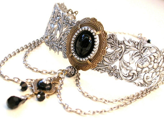 Gothic Choker - Black Onyx on Silver Choker - Victorian Gothic Jewelry