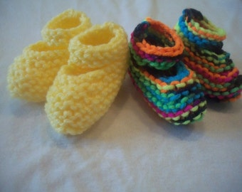 Knitted Preemie Mary Jane Baby Booties
