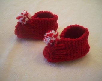 Knitted Red Christmas Baby Booties