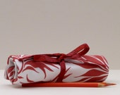 Colored Pencil Roll, Crochet Hook Case, Brush Roll, Stunning Red Floral Fabric from Lulu DK, Option to Include 12 Pencils