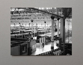 Waterloo Train Station, Black and White Photography, For Him, London, UK, Train Photography, Train Gift, Gift For Him, Art, For Dad, For Man