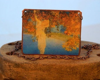 Maxfield Parrish jewelry art necklace Reveries mixed media jewelry