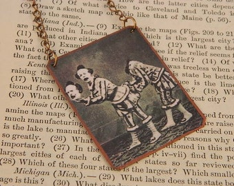 Circus Necklace Creepy Clowns headless clowns mixed media jewelry Circus jewelry