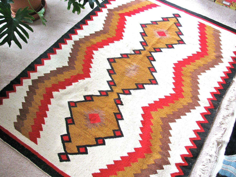 navaho tapis rouge blanc brun et noir tapis vers 1950 la. Black Bedroom Furniture Sets. Home Design Ideas