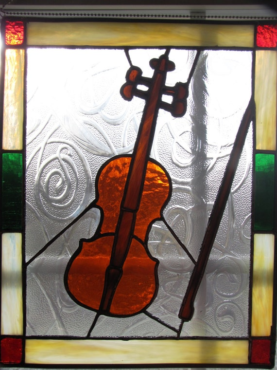 Violin Stained Glass Panel