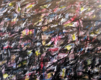 Winter of My Discontent. 11-21-13 (LARGE abstract expressionist painting, black, white, gray, blue, red, yellow)