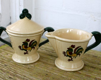 Vintage Metlox Poppytrail Green Rooster CREAM and SUGAR SET