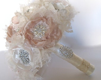 "Bridal Bouquet Romantic Fabric Flower 12"" Brooch Bouquet  Ivory and Champagne with Pearls Rhinestones and Lace Bridal Custom Made"