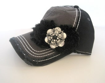 Two Tone Grey and Black Trucker Baseball Cap Hat with Black Chiffon Flowers and Silver and Black Stone Accent