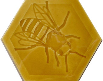 Honey Bee -  Hexagonal Tile in Honey Yellow glaze
