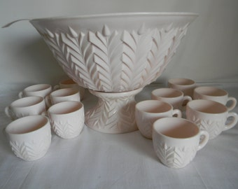 Vintage Jeanette Glass Shell Pink Milk Glass Feather Pattern Punch Bowl Set