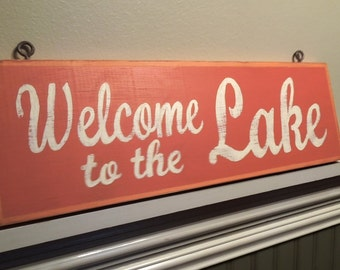 WELCOME to the LAKE orange, painted retro  beach, cottage, lake house wooden sign