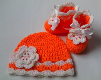 SALE Crochet Baby Hat and Baby Booties set flower orange