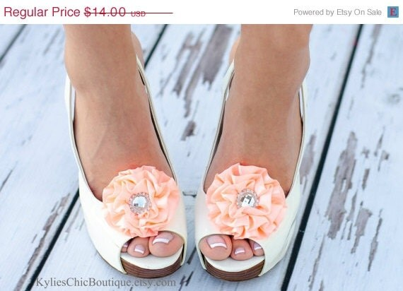 SALE Peach Shoe Clips - Wedding, Bridesmaid, Date Night, Party, Everyday wear