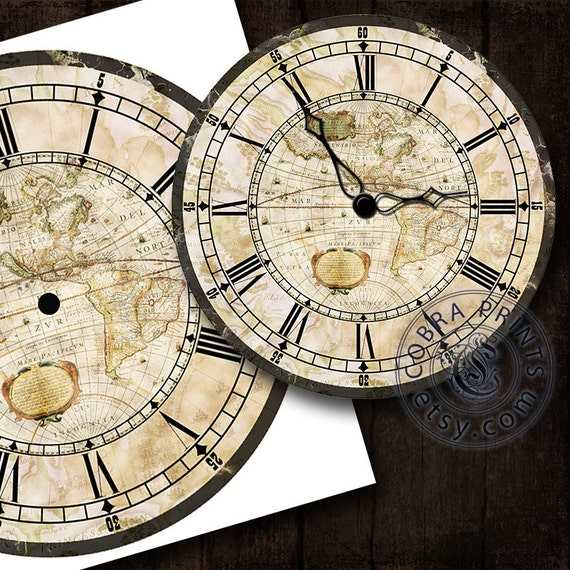 Antique Map DIY Large Clock Face 12 Digital Sheet by ...