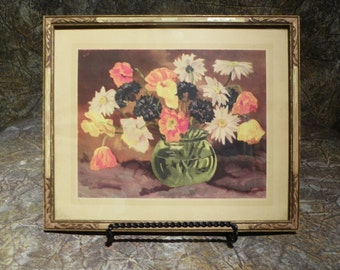 Watercolor Print Spring Flowers in Green Glass Orb Vase Frame c1930's Daisies Poppies Whites Reds Yellows Dark Blue  Shabby Chic