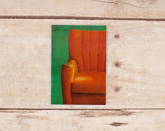 orange chair refrigerator magnet, still life photography, home decor, photo magnet, urban, photography, magnets
