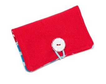Clearance! Foundation Bifold Organic Canvas Wallet with Vintage Button Closure: {Red}