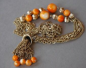 Vintage Orange Necklace Orange Beads Tassel Fringe Long Multiple Gold Tone Chain Boho Hippie 1970's // Vintage Costume Jewelry