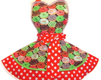 "Ready to Ship! Exclusive ""Holiday Donut"" Christmas Apron Pinup Diner-Only from Tie Me Up Aprons"