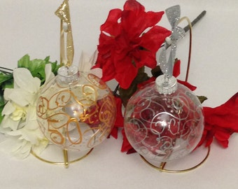 50th or 25th Anniversary Ornament Hand Painted Swirls Glitter