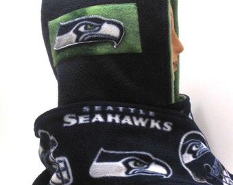 seattle seahawks, hoody, hooded scarf, scoody, scoodie, fleece, blue, seahawk, football, scarves